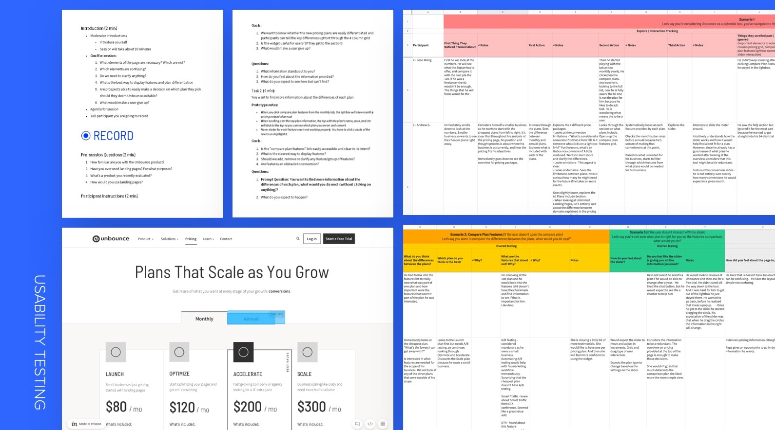 Unbounce Pricing Process Usability Test