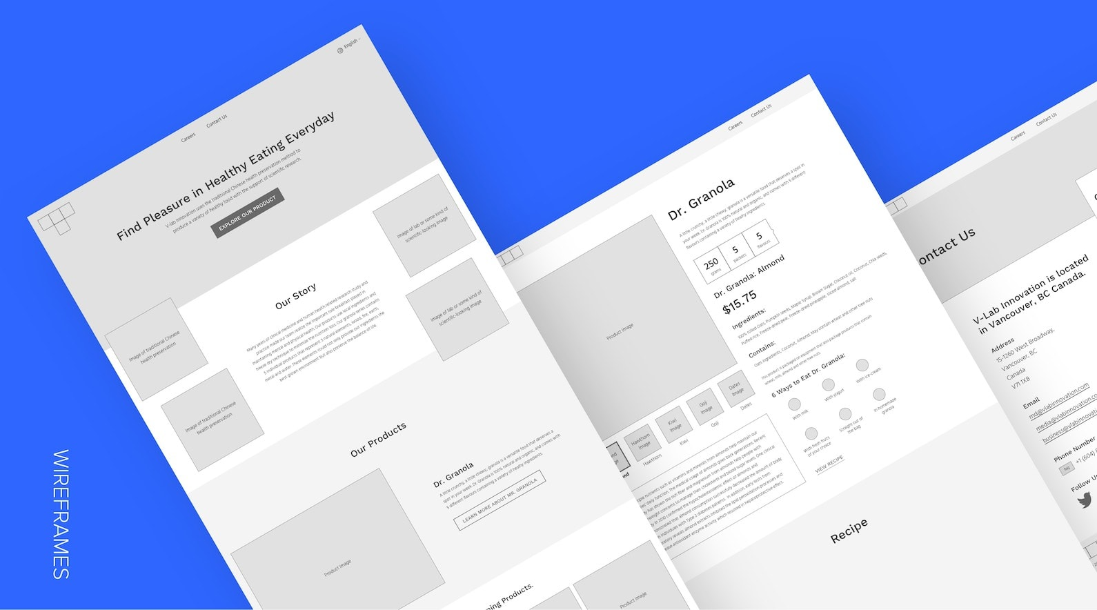 v-lab wireframes
